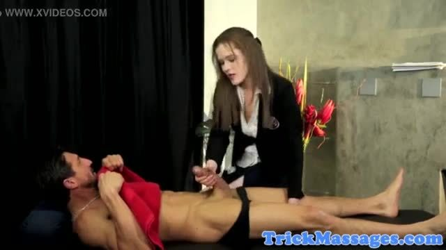 Drilled masseuse schoolgirl facialized