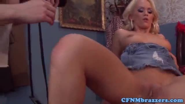 Cfnm femdoms cockriding in reverse gangbang